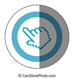 sticker blue circular frame with pixelated hand pointing