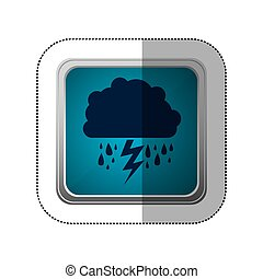 sticker blue square button with silhouette cloud with rain and lightning