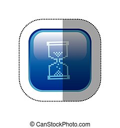 sticker blue square frame with hourglass icon