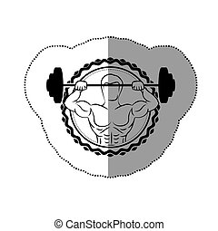 sticker border with black contour muscle man lifting a disc weights