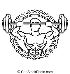 sticker border with contour muscle man lifting a disc weights