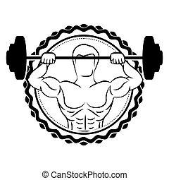 sticker border with silhouette muscle man lifting a disc weights