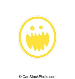Sticker bright monster with sharp teeth on a white ...