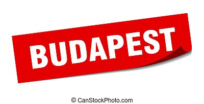 sticker., budapest, cuadrado, policía, rojo, señal