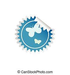 sticker butterfly blue vector