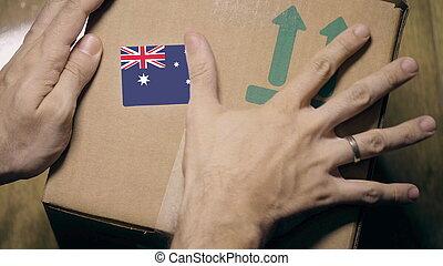 sticker., carton, drapeau australien, australie, ou, étiquetage, importation, exportation