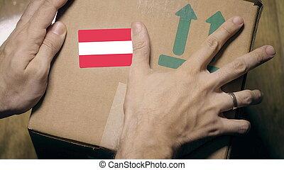 sticker., carton, drapeau, ou, autriche, autrichien, étiquetage, importation, exportation