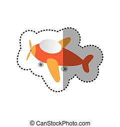 sticker cartoon airplane transport icon design
