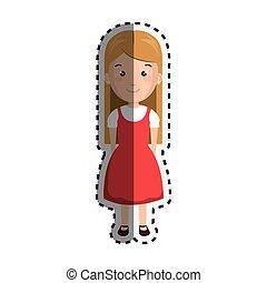sticker cartoon blond girl with cute dress