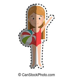 sticker cartoon blond girl with summer swimsuit and ball