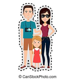 sticker cartoon family in travel with camera