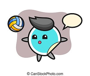 Sticker cartoon is playing volleyball