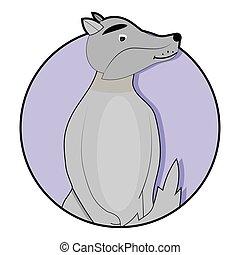 Sticker cartoon wolf icon