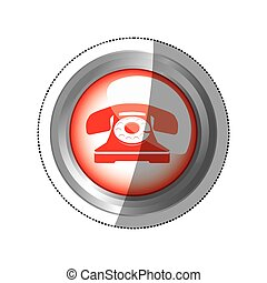 sticker circular button red old phone icon
