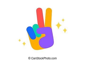 sticker., coloré, autocollant, -, haut, signe, rock., rocher, amusement, main