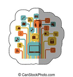 sticker color background with computer icons