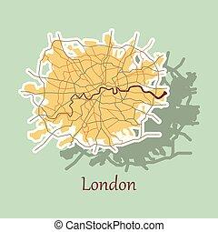 Sticker color map of London, United Kingdom. City Plan of London. Vector illustration