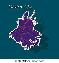 Sticker color map of Mexico City, Mexico. City Plan of Mexico City. Vector illustration