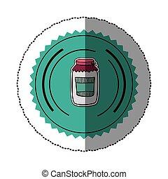 sticker color round frame with glass jam