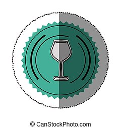 sticker color round frame with glass of champagne sour