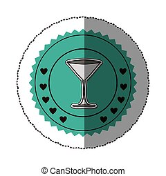 sticker color round frame with martini glass