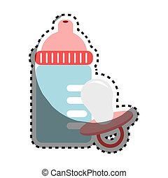 sticker color silhouette with baby bottle and pacifier