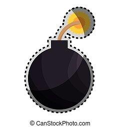 sticker color silhouette with bomb icon