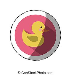 sticker color silhouette with yellow duck bath in round frame