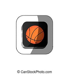 sticker color square 3d button with basketball ball
