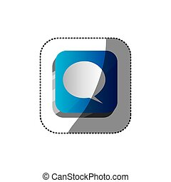 sticker color square 3d button with dialog box
