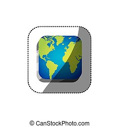 sticker color square 3d button with map continents