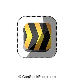 sticker color square 3d button with road traffic barrier