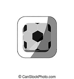 sticker color square 3d button with soccer shape ball