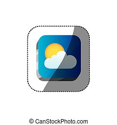 sticker color square 3d button with realistic cloud and sun