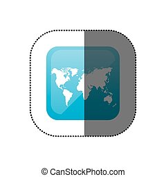 sticker color square frame with world map