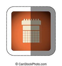 sticker color square with calendar icon