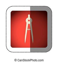 sticker color square with compass icon