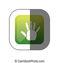 sticker color square with handprint icon