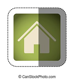 sticker color square with house icon