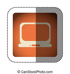 sticker color square with laptop computer icon