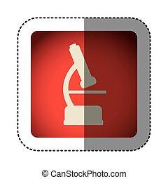 sticker color square with microscope icon