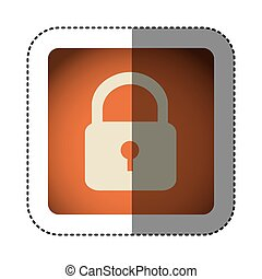 sticker color square with padlock icon