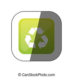 sticker color square with recycling icon