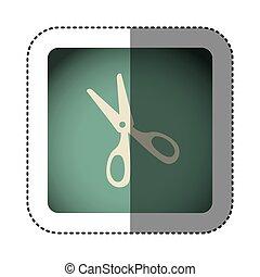 sticker color square with scissors
