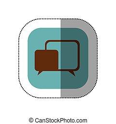 sticker color square with speech icon