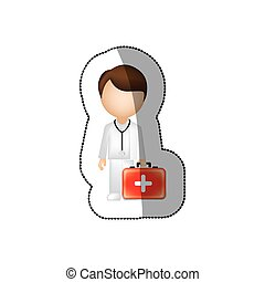 sticker color with doctor with blood donation equipment