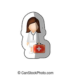 sticker color with female doctor with blood donation equipment