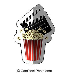 sticker color with popcorn cup and clapper board