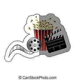 sticker color with popcorn cup with cinematography movie and clapper board