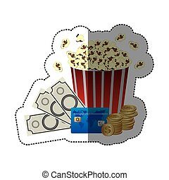 sticker color with popcorn cup with money and movie tickets